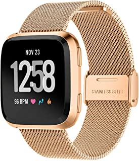 T Tersely Band Strap for Fitbit Versa 2/1 / Versa Lite, Luxury Metal Stainless Steel Adjustable Replace Replacement Bands ...
