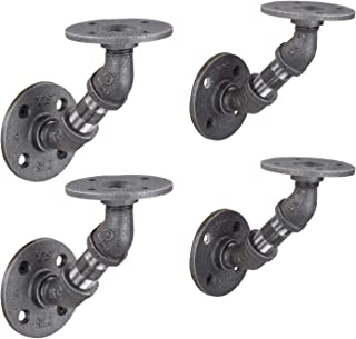 Pipe Shelf Brackets, Industrial Angled Bracket for Rustic Floating Shelves,Iron Metal Grey Black Fittings, Wall Mounted Shelving DIY Furniture, Double Flange with 2 Inch Pipes, Set of Four