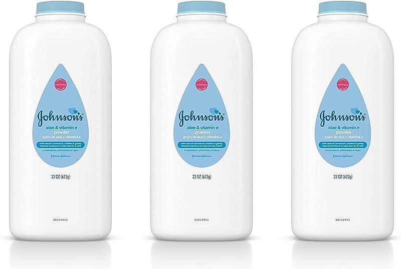 Johnson S Baby Powder Pure Cornstarch Aloe Vitamin E 22 Oz Pack Of 3