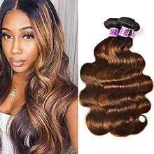 Sunber 10A Ombre Bundles Body Wave Hair 3 Bundles Ombre Human hair Body Wave Hair Brazilian Virgin Hair Body Wave 100% Human Hair Extensions Two Tone F1B/30 Color (14 16 18)
