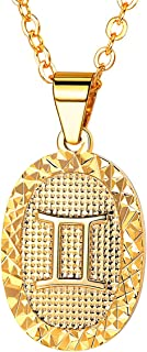 12 Zodiac Necklace Customizable Zodiac Sign Jewelry 18k Gold Plated/Two Tone Constellation Horoscope Pendant Necklace Birthday Gifts for Women Girls Adjustable 18