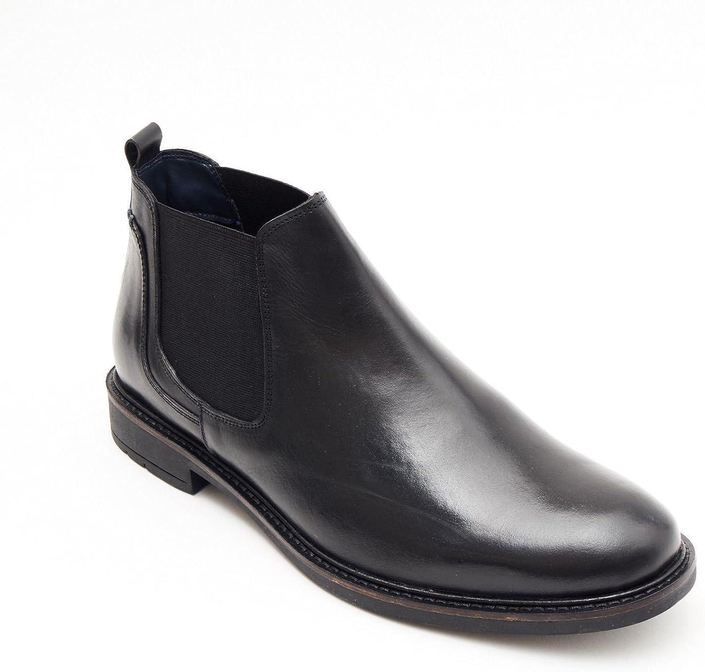 Lucini Formal Men Black Leather Formal Chelsea Slip-On Boots Wedding Office