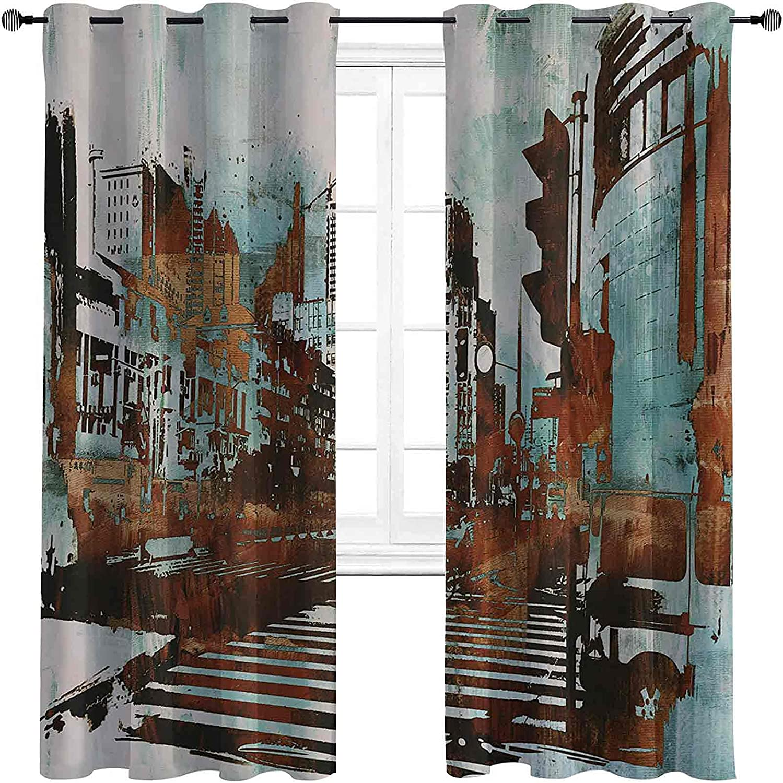 Cheap bargain Blackout Grunge Curtain Seasonal Wrap Introduction Urban Cityscape A Abstract Contemporary