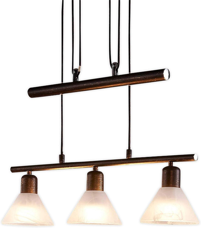 Lampenwelt LED Pendelleuchte 'Eleasa' dimmbar (Landhaus, Vintage, Rustikal) in Schwarz aus Glas u.a. für Wohnzimmer & Esszimmer (3 flammig, E14, A+, inkl. Leuchtmittel) - Hngeleuchte, Esstischlampe