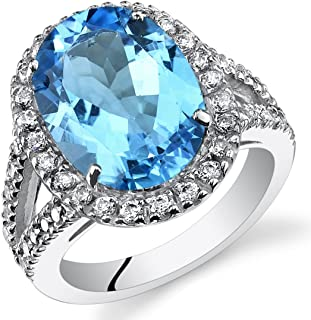 6.50 Carats Oval Cut Swiss Blue Topaz Engagement Ring In Sterling Silver Sizes 5 to 9