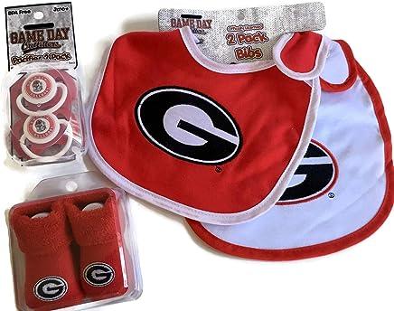 77e893060 Georgia Bulldogs Baby Booties Gift Set Red UGA Pacifiers Toxin-Free 2 Bibs  NCAA Infant