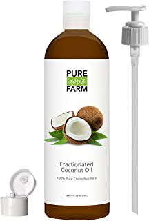 Fractionated Coconut Oil (Liquid) - with Pump + Free Recipe eBook! - Use with Essential Oils and Aromatherapy as a Carrier and Base Oil - Add to Roll-On Bottles for Easy Application