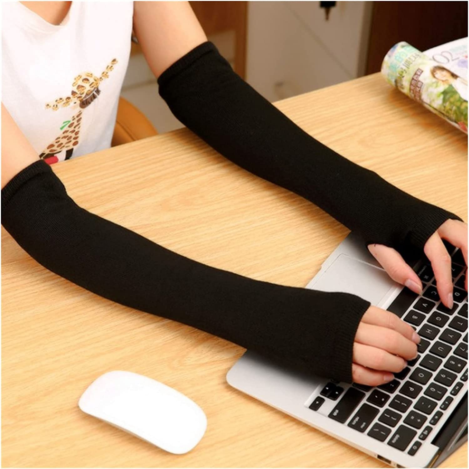 DONGMAISM Sun Protection Gloves Winter Wrist Arm Hand Arm Warmers Knitted Long Fingerless Gloves Sleeve Fingerless Gloves Soft Warm Mitten Elbow Mittens Bridal Gloves (Color : E)