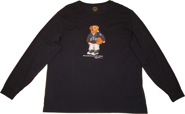 Polo Ralph Lauren Mens Big and Tall Bear Graphic Long Sleeve T-Shirt