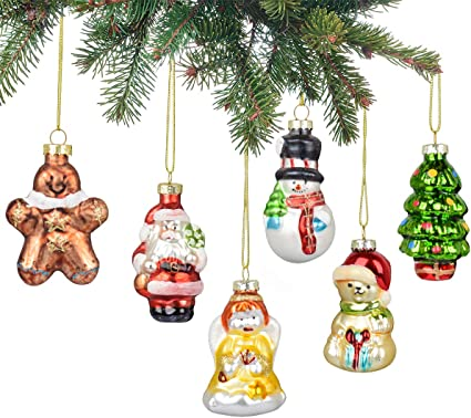 Knikglass Set Of 6 Glass Painted Ornaments Hanging Baubles Hand Painted Pendants Glass Figurines Santa Claus Snowman Angel Bear Hanging Christmas Ornaments Xmas Tree Decorations Combination 1 Amazon Co Uk Kitchen Home
