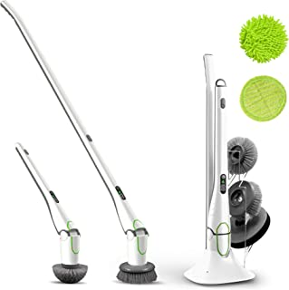 GOOD PAPA New Spin Scrubber Floor Scrubber Cordless Design HD LED Display Powerful Motor 2 Speed Modes with 5 Replaceable Brush Heads Device Stand and Brush Rack for Kitchen Bathtub Tile