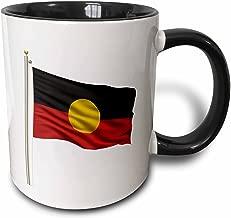 """3dRose mug_157084_4""""Flag of Aborigine on a flag pole over white Aboriginal"""" Mug, 11 oz, Black"""