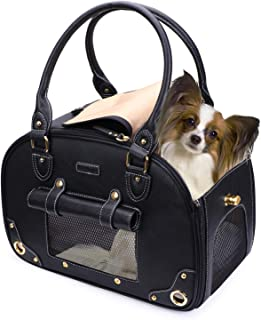 PetsHome Dog Carrier, Pet Carrier, Cat Carrier, Foldable Waterproof Premium Leather Pet Travel Portable Bag Carrier for Cat and Small Dog Home & Outdoor Small Black