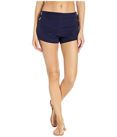 MICHAEL Michael Kors Terry Lace-Up Side Shorts Cover-Up (New Navy) Women
