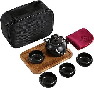 kilofly Chinese/Japanese Portable Tea Set - Teapot Cups Wooden Tray Travel Bag
