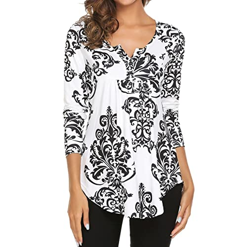 8e8f33929fd2c Women s Paisley Printed Long Sleeve Henley V Neck Pleated Casual Flare  Tunic Blouse Shirt