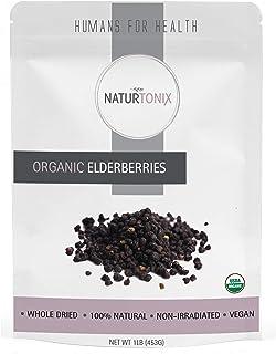 USDA Certified Organic Dried Elderberries, Sambucus Nigra, 1 Pound Resealable Fresh Pouch