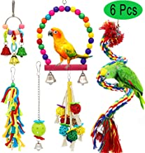 PETUOL Birds Swing Toys, Parrots Chewing Hanging Perches with Bells Toys for Love Birds Macaws Cockatiels Parakeets African Grey Parrot Lorikeets and Other Large Medium Small Birds