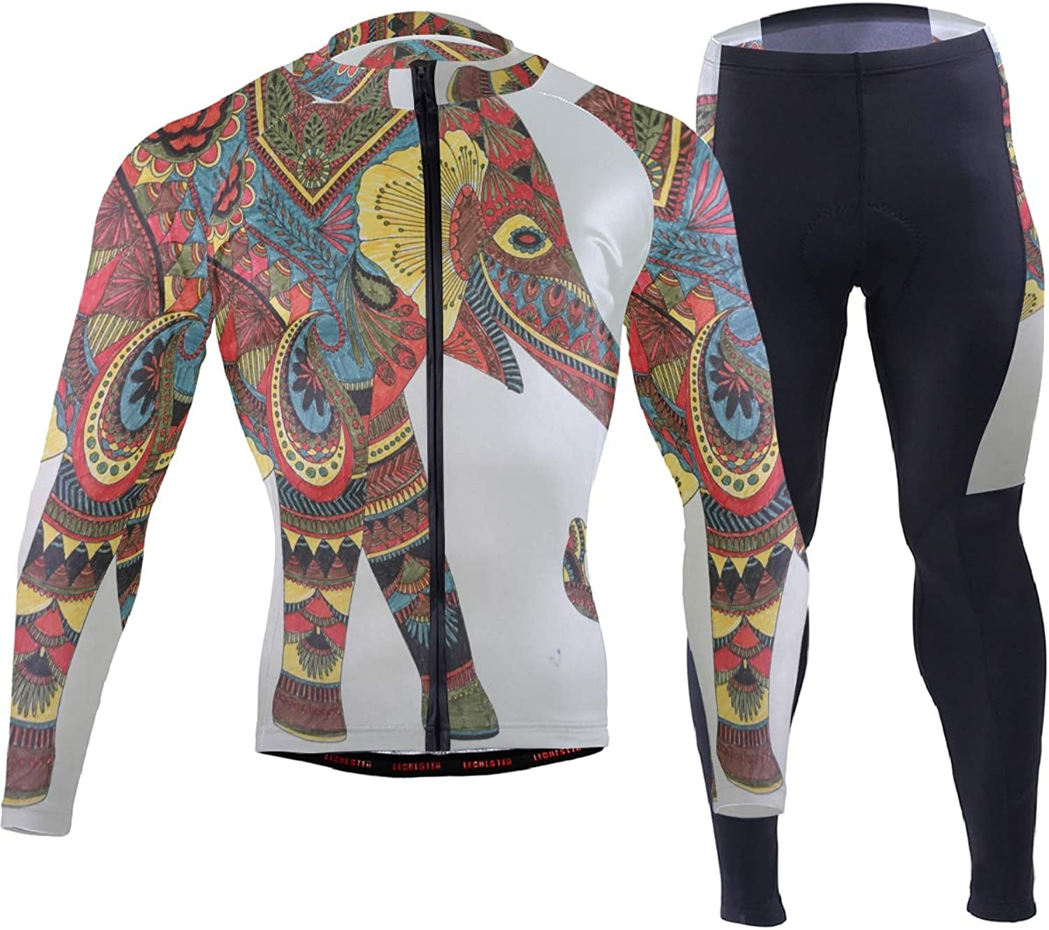 FAJRO Indian Style Eleophone Drawing Sportswear Suit Bike Outfit Set Breathable Quick Dry 3D Padded Pants