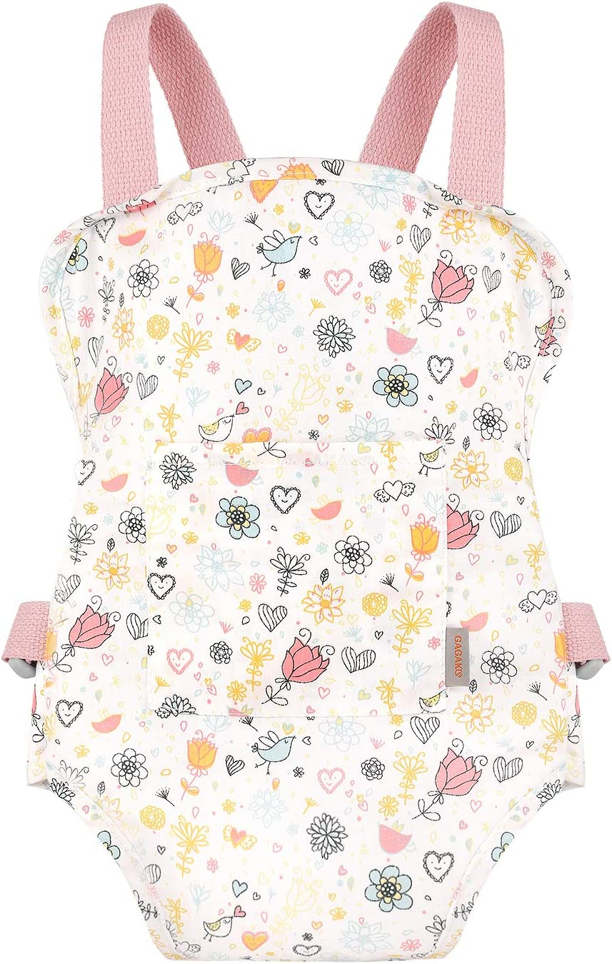 GAGAKU Doll Carrier Soft Cotton Front and Back Carrying with Adjustable Straps for Baby, Rose Garden