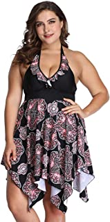 Plus Size Swimwear - Halther Tankini Swimsuits for Women Plus Size with Shorts