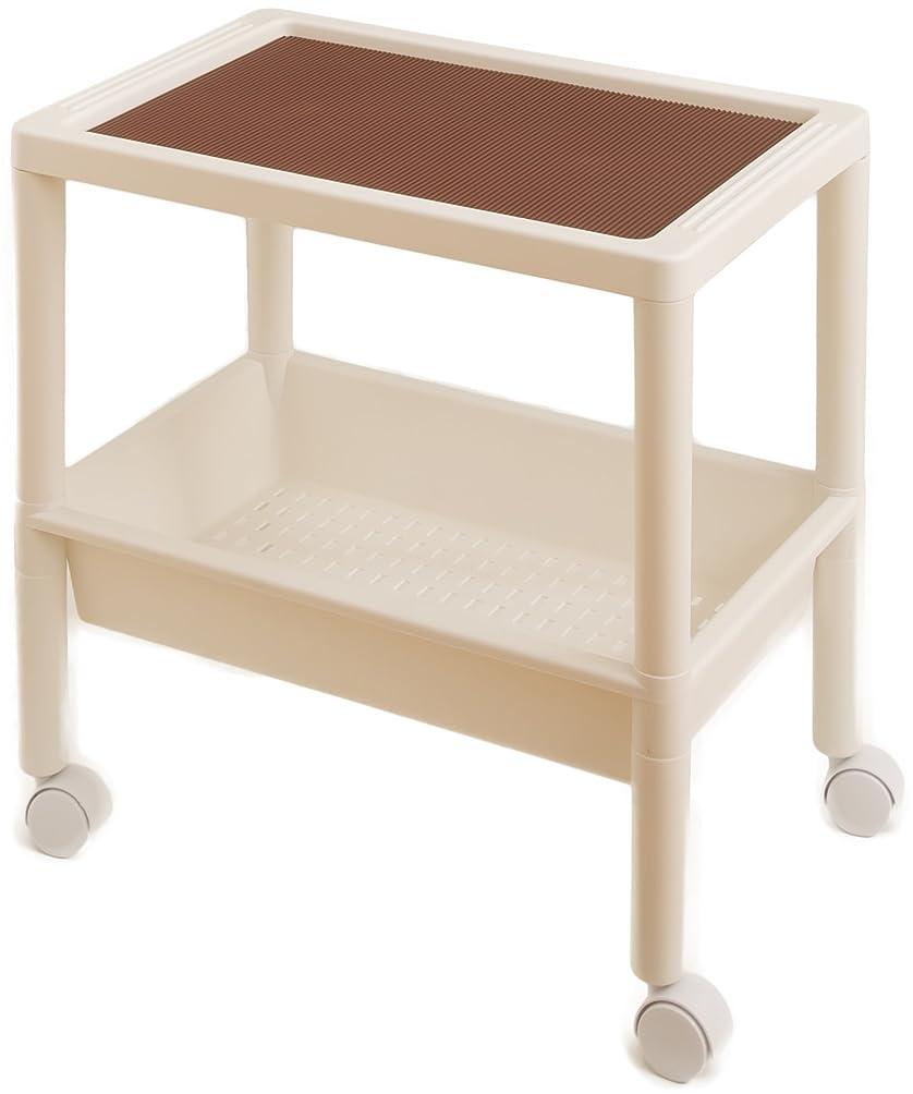 不完全な艶リマ木本化学工業 サイドテーブル 2段 ホワイト 55964