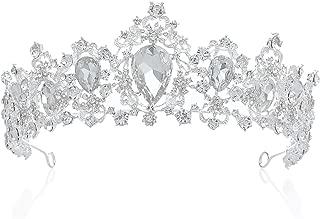 SWEETV Royal CZ Crystal Tiara Wedding Crown Princess Headpieces Bridal Hair Accessories, Clear+Silver