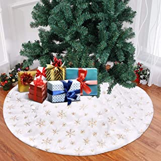 Funkprofi Christmas Tree Skirts White Plush with Golden Snowflake Sequins, Faux Fur Handmade Soft Luxury Tree Skirt Decorations for Indoor Outdoor Xmas Holiday Party Decor Kids Pet Favors (48.03 Inch)