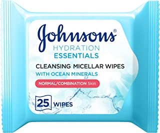 JOHNSON'S Cleansing Face Micellar Wipes, Hydration Essentials Make up remover, Pack of 25 wipes