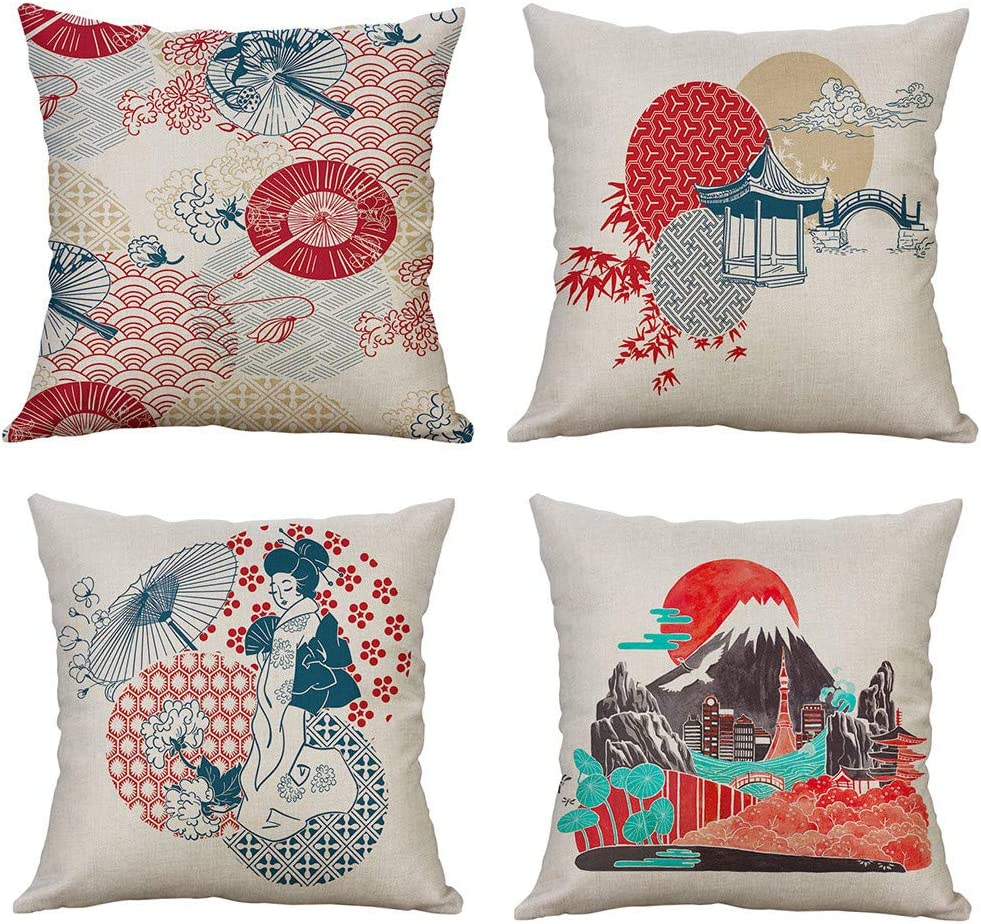 Set Of 4 Throw Pillow Covers Shamoluotuo Japanese Style Ukiyoe Fuji Mountain Pattern Linen Blend Living Room Sofa Car Decorative Pillowcases Throw Pillow Case Cushion Cover 16 X16 Sports Outdoors