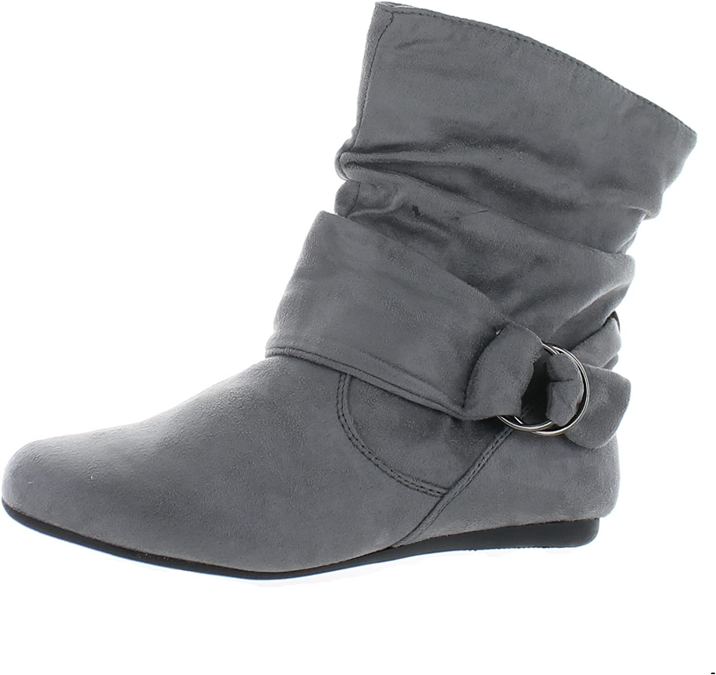 Forever Selena-58 Women's Fashion Mid Calf Flat Heel Side Zipper Slouch Boots