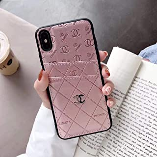 New Phone case for iPhone Xs Max Case, Elegant Street Fashion Luxury Designer PU Leather Heart Slim Fit Shockproof Cover Case for iPhone 6 6S 7 8 Plus X XS XR XS MAX (Pink, iPhone Xs Max)
