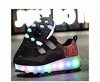 USB Charging Kids LED Roller Shoes Double Wheels, Retractable Technical Skateboarding Shoes, Roller Skating Shoes Double Wheels, Youth/Girl Outdoor Sports Cross