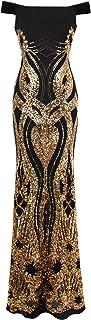Angel-fashions Damen Aus der Schulter Blumenmuster Pailletten Mantel Abendkleid
