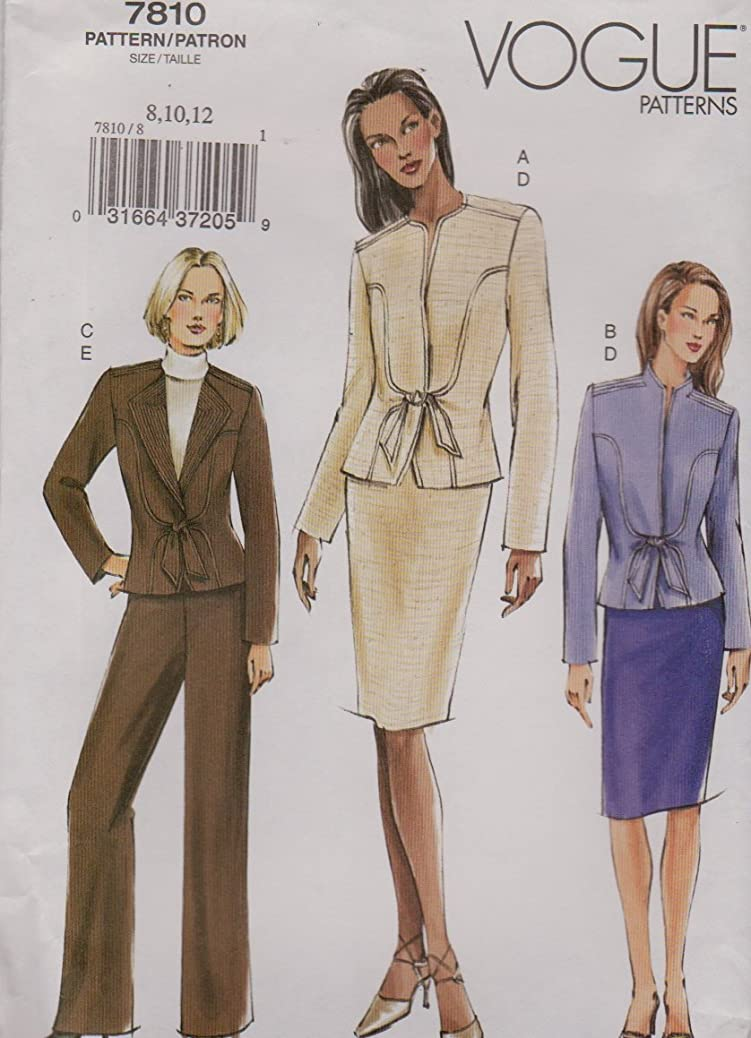 Vogue Sewing Pattern 7810 V7810 Misses Size 8-12 Fitted Jacket Skirt Pants Suit Pantsuit bcoctbvreb