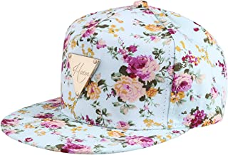 Yonala Womens Fashion Floral Snapback Hip-Hop Hat Flat Peaked Baseball Cap 768326f55b07