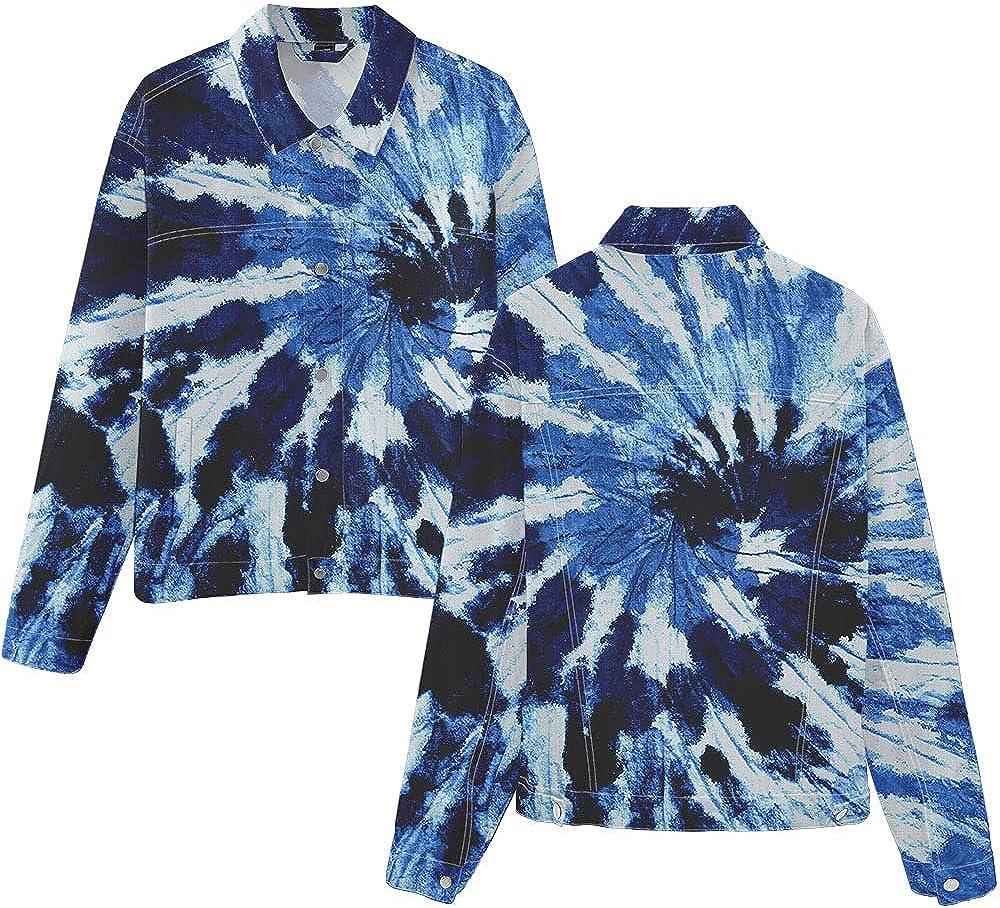 Tie-dye Unisex Adults & Youth Denim Jacket, Men and Women Button Trucker Jacket, Teens Boys & Girls Lightweight Lapel Tops