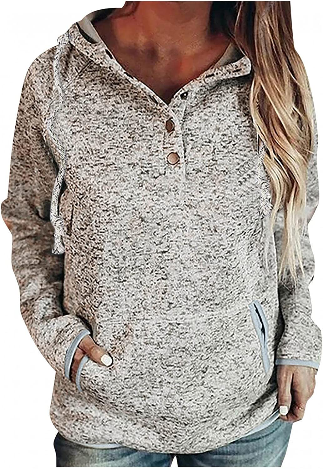 felwors Sweatshirt for Women, Womens Button Collar Drawstring Long Sleeve Casual Hoodies Pullover Tops with Pockets