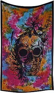 The Art Box Tie Dye - Tapiz de Cabeza Humana, diseño de Calavera de Mandala, tamaño Individual, para Colgar en la Pared, Colcha Bohemia, decoración de Cama de 140 x 213 cm Aprox.
