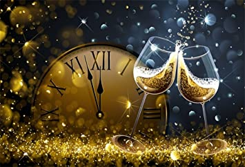 Baocicco 12x8ft Happy New Year 2021 Backdrop Beautiful Fireworks Champagne Glass Golden Bokeh Photography Background Christmas Decor Champagne Celebration Graduates Family Children Portrait Props