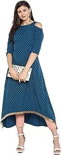 Janasya Women's Turquoise Blue Crepe Kurta With Pant
