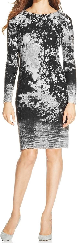 Jessica Howard Women's Printed Long-Sleeve Sheath Dress