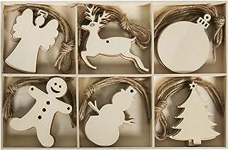 30pcs Wooden Christmas Unfinished Wood Cutouts Embellishments Tree Hanging Ornament - Angel Deer Ball Doll Snowman Tree Xm...
