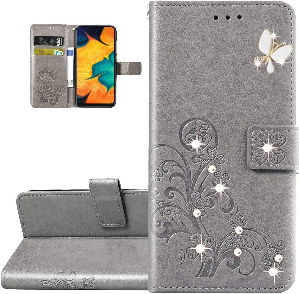 LEMAXELERS Galaxy Z Fold 2 5G Case Bling Diamond Clover Wallet Case with Card Slots Magnetic Flip Stand Premium PU Leather Shockproof Cover for Samsung Galaxy Z Fold 2 5G Diamond Clover Gray SD