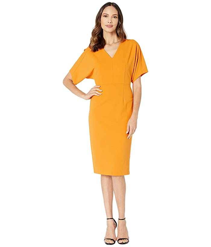 Donna Morgan  Kimono Sleeve V-Neck Sheath Crepe Dress (Butternut) Womens Dress