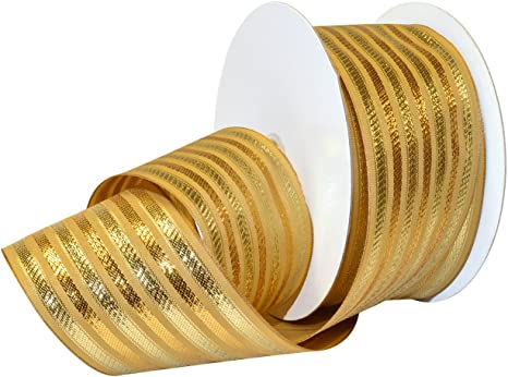 Morex Ribbon Wired Polyester Baroque Noel Ribbon 2 1 2 X 50 Yd Gold Gold 7487 60 50 634 Arts Crafts Sewing