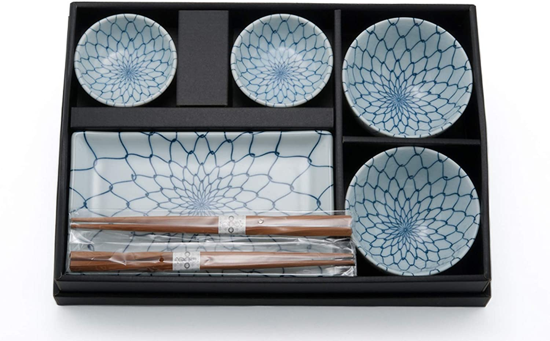 BlueLotus Happy Sales 8 Piece Japanese Dinnerware Sushi Plate Set