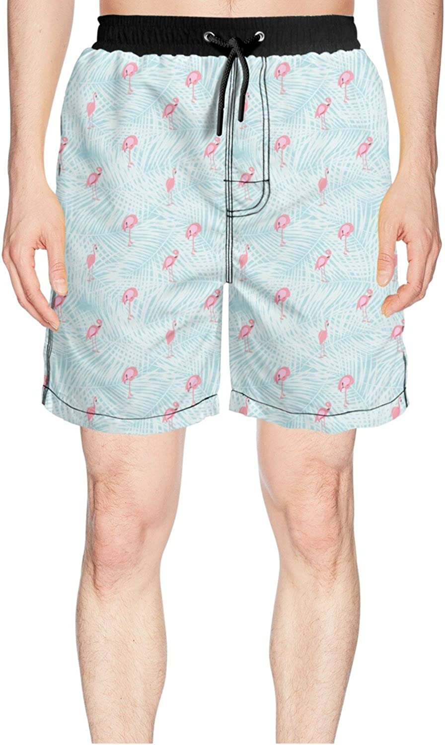 23a4fe9454 Juliuse Marthar Men's Pink Pink Pink Flamingo with Tropical Jungle Swim  Trunks Quick Dry Shorts Board Shorts ebd49f