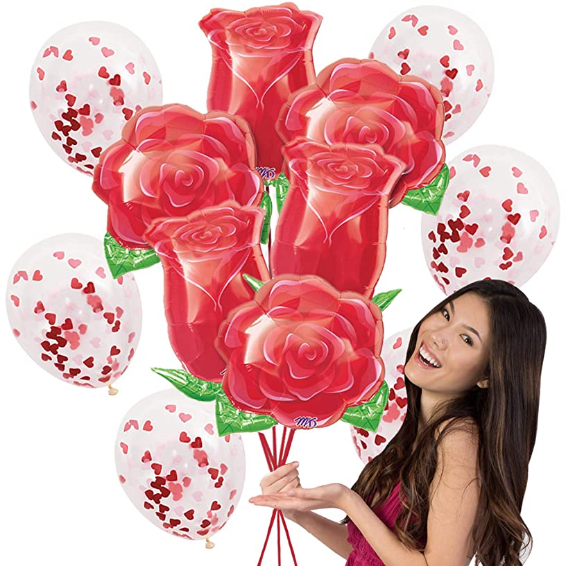 Special Occasion Mylar Balloon Bouquet - 12 pc Set with 6 Large Mylar Roses Balloons & 6 Clear Balloons with Red Heart Confetti - Birthday, Proposal Balln(Roses) Red