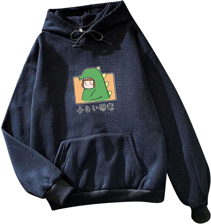 Hemlock Teen Girls Cute Sweatshirts Dinosaur Print Hoodies Long Sleeve Hooded Pullover Sweatshirt Junior School Top